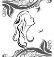 Girl profile on sea background vector