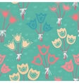 Cute seamless floral pattern with tulips on green vector