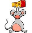 Cute mouse with cheese cartoon vector