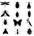 Insects silhouettes collection vector