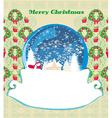 Santa claus in a glass ball retro christmas card vector