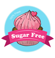 A sugar free label with a fresh cupcake vector