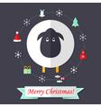 Christmas card with sheep over dark blue vector