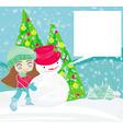Little girl and snowman card vector