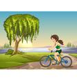 Girl riding bike background vector