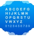 Sketch doodle cloudy font on blue background vector