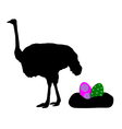 Ostrich with easter eggs vector