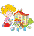 Girl with a doll and toy house vector