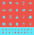 Department store item category color icons on red vector