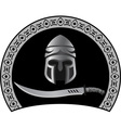Medieval helmet with sword vector