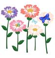 A garden of flowers with butterflies vector