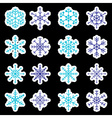 16 types of blue and white snowflakes stickers vector