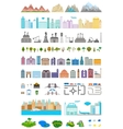 Elements of the modern city and village vector