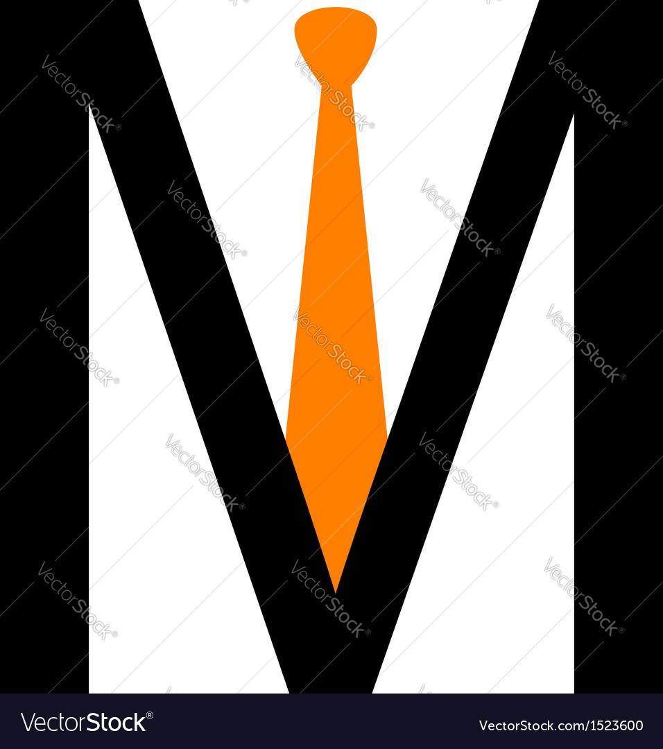 Alphabet m with tie vector | Price: 1 Credit (USD $1)