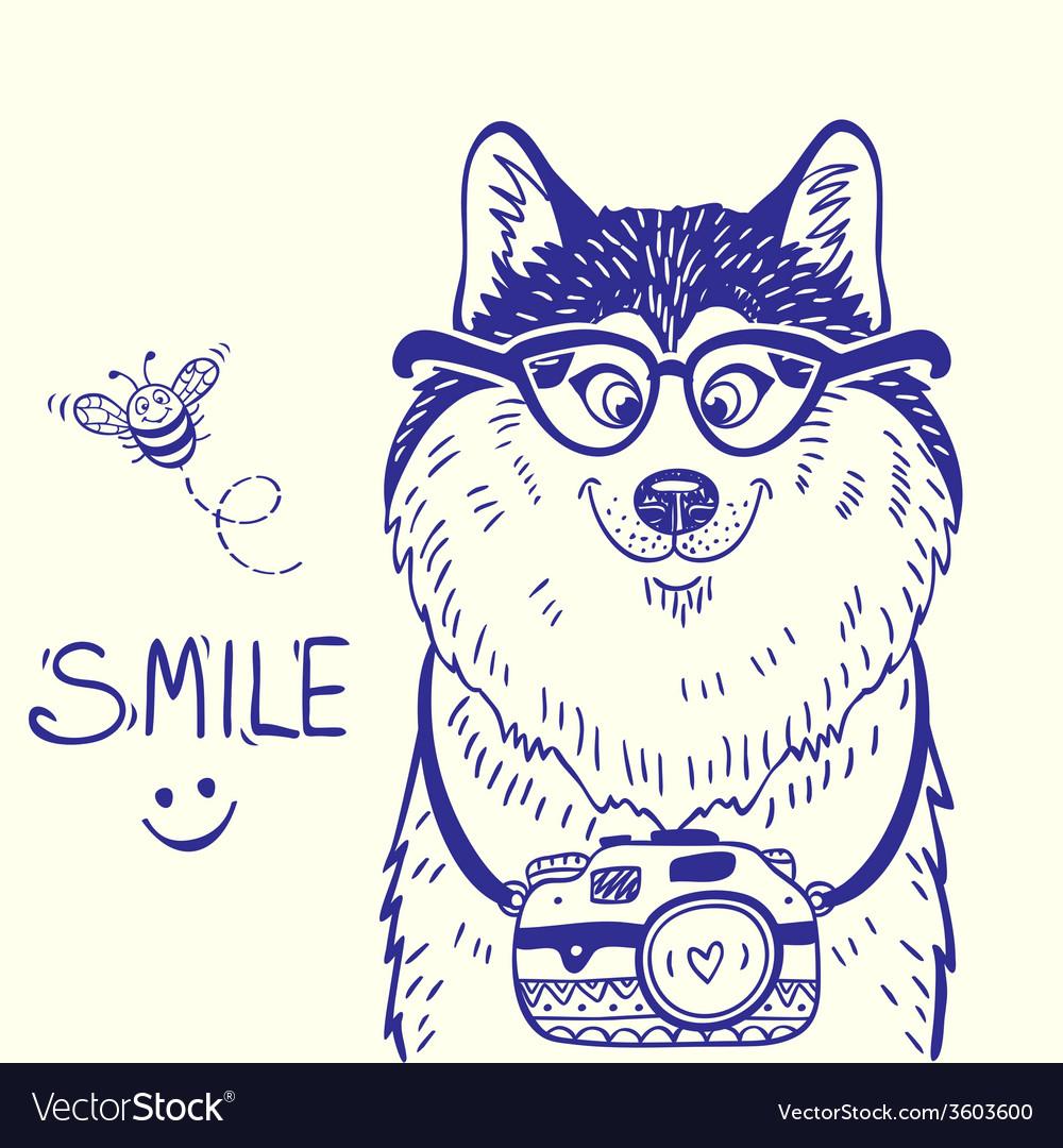 Husky smile doodle vector   Price: 1 Credit (USD $1)