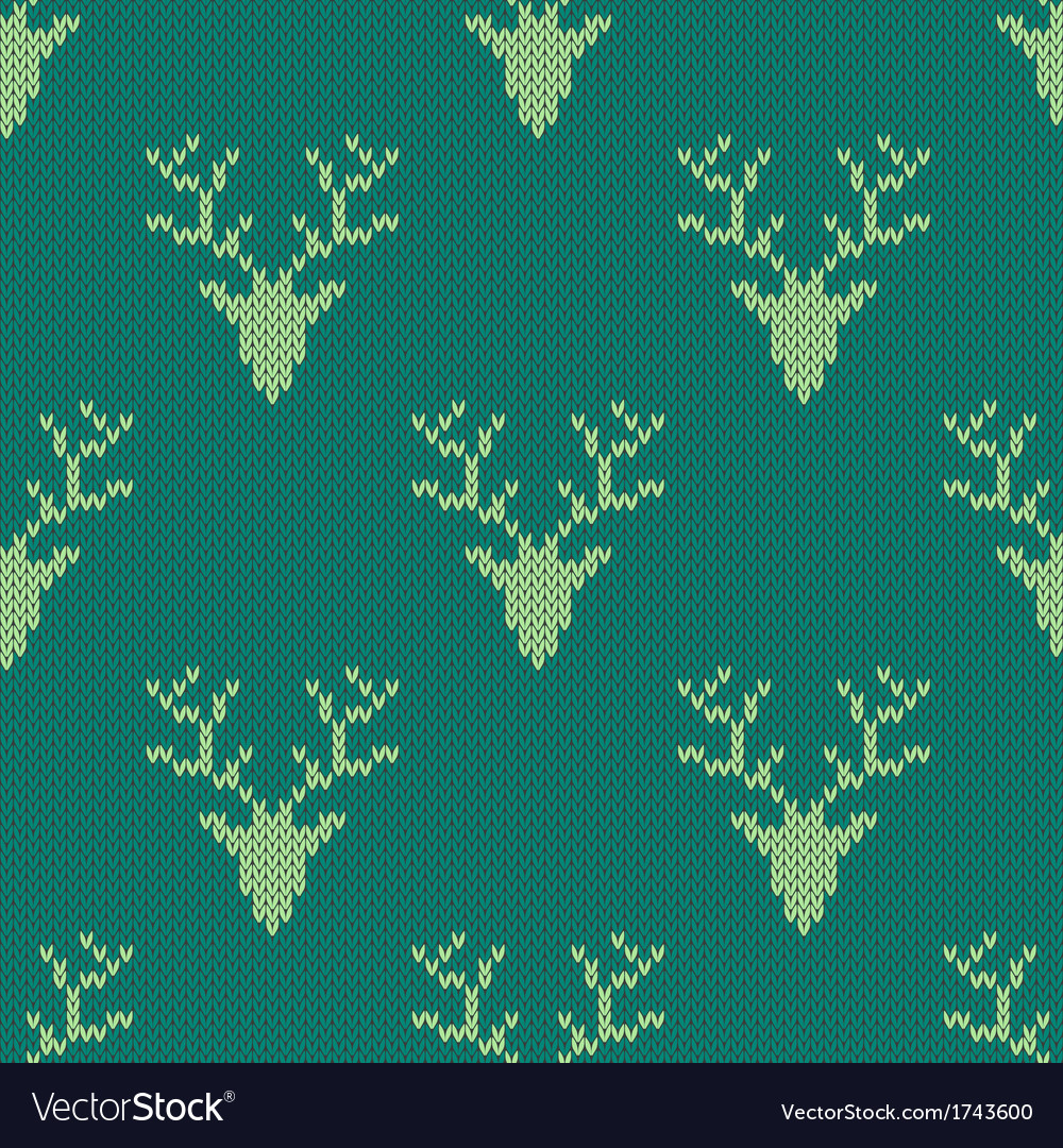 Knitted sweater with deer seamless pattern vector | Price: 1 Credit (USD $1)
