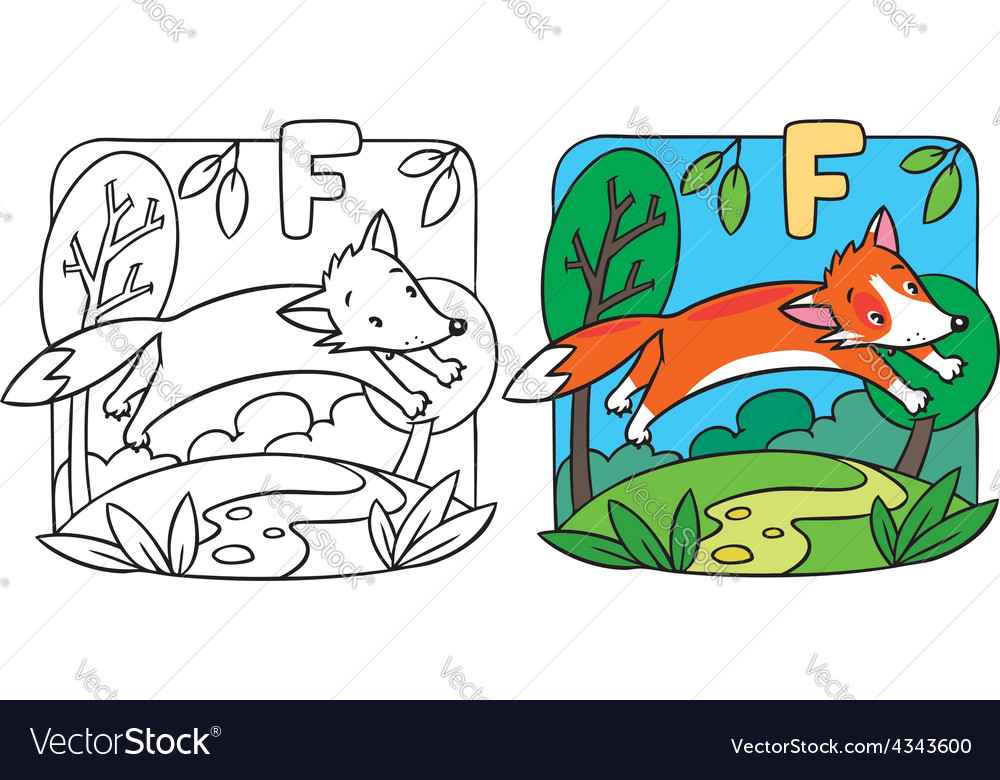 Little red fox coloring book alphabet f vector | Price: 1 Credit (USD $1)