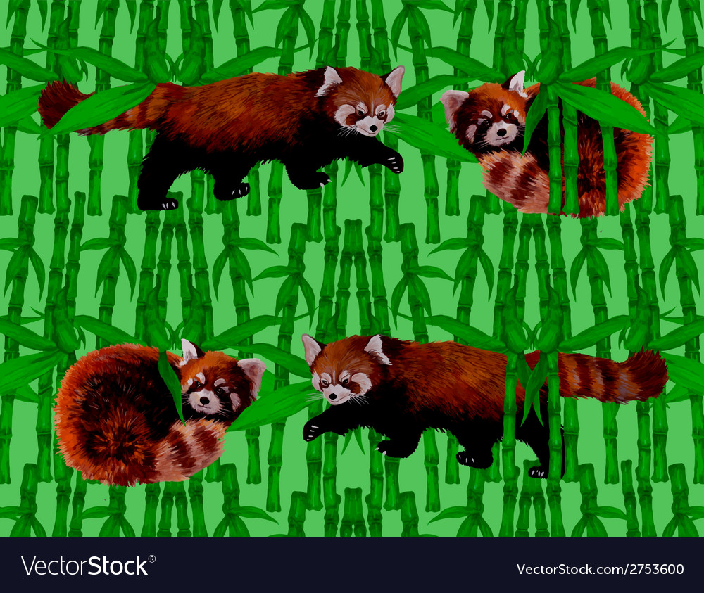 Seamless pattern with fire foxes and bamboo hand vector | Price: 1 Credit (USD $1)