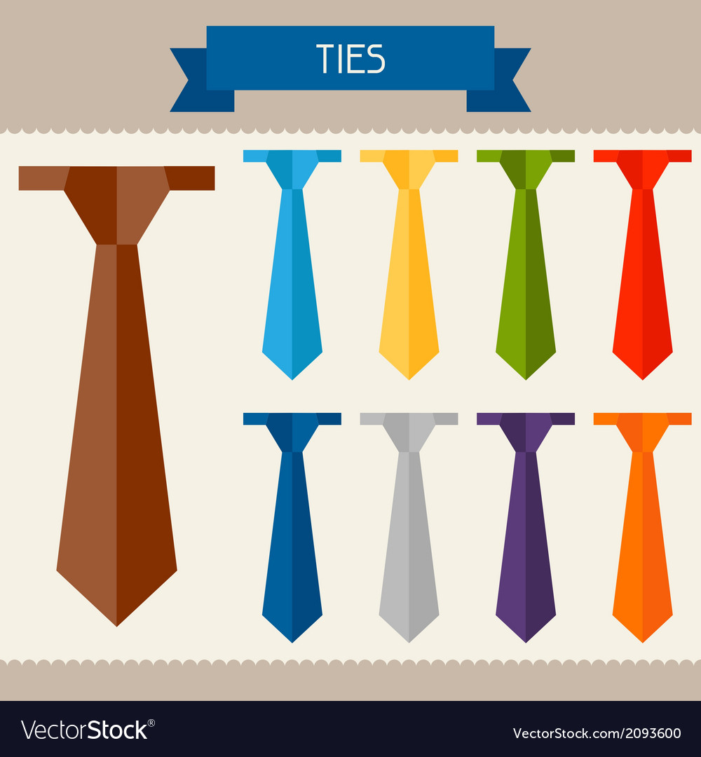 Ties colored templates for your design in flat vector | Price: 1 Credit (USD $1)