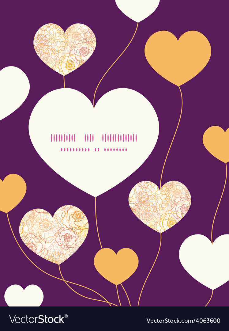 Warm flowers heart symbol frame pattern vector   Price: 1 Credit (USD $1)