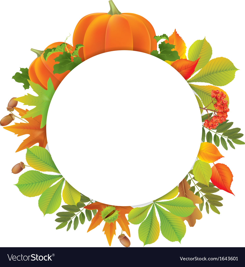 Autumn round banner with pumpkins vector | Price: 1 Credit (USD $1)