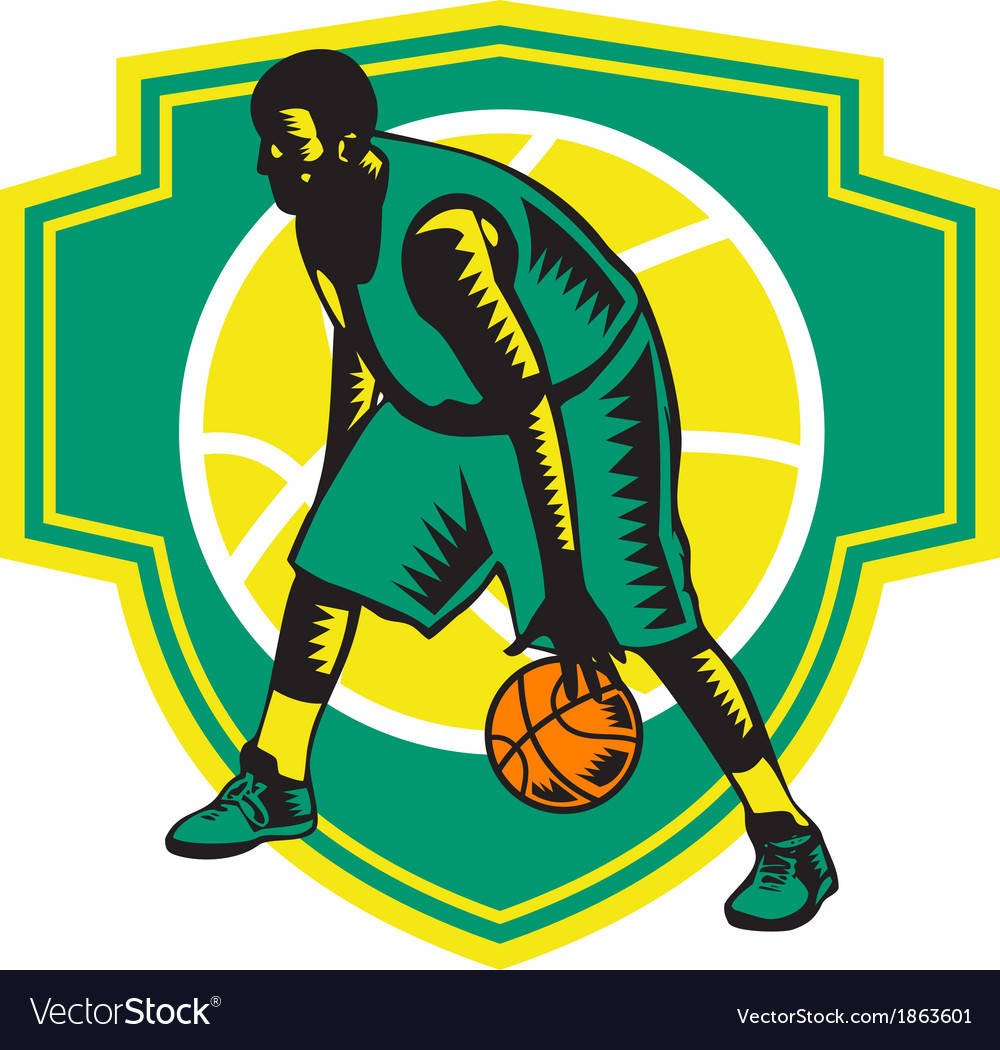 Basketball player dribbling ball woodcut shield vector | Price: 1 Credit (USD $1)