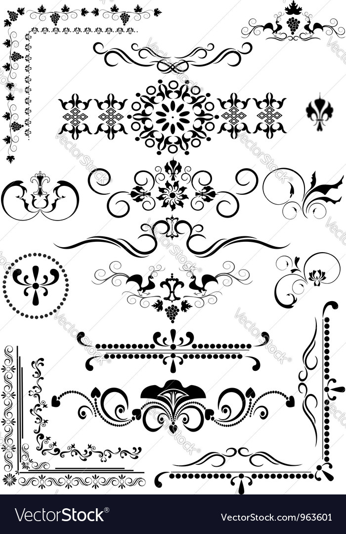 Corner and border and details of decoration vector | Price: 1 Credit (USD $1)