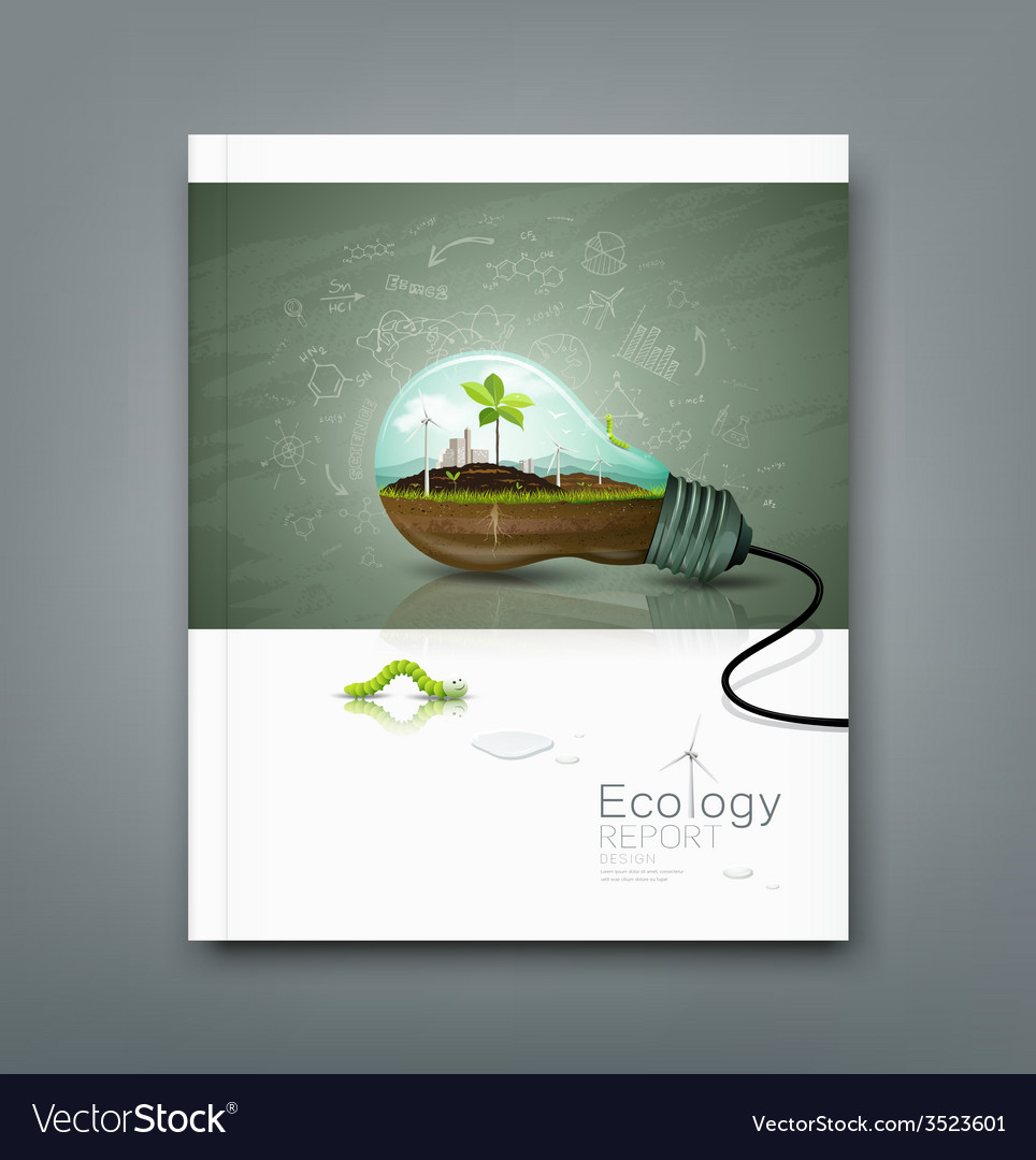 Cover annual report light bulb ecology concept vector | Price: 3 Credit (USD $3)