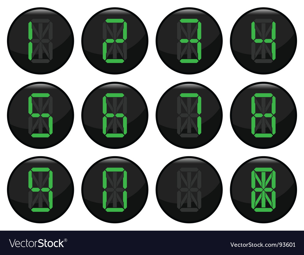 Digital number icons vector | Price: 1 Credit (USD $1)
