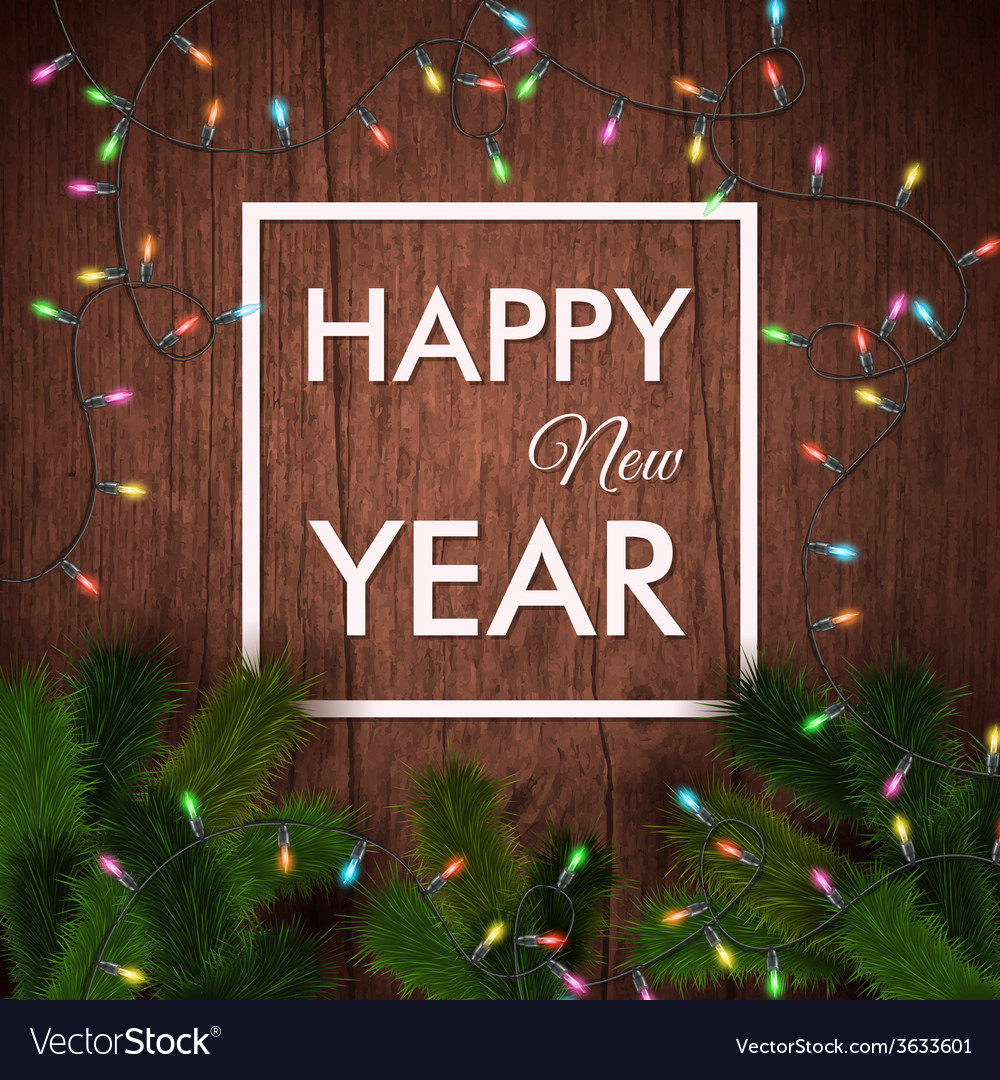 Happy new year card wooden background realistic vector | Price: 1 Credit (USD $1)