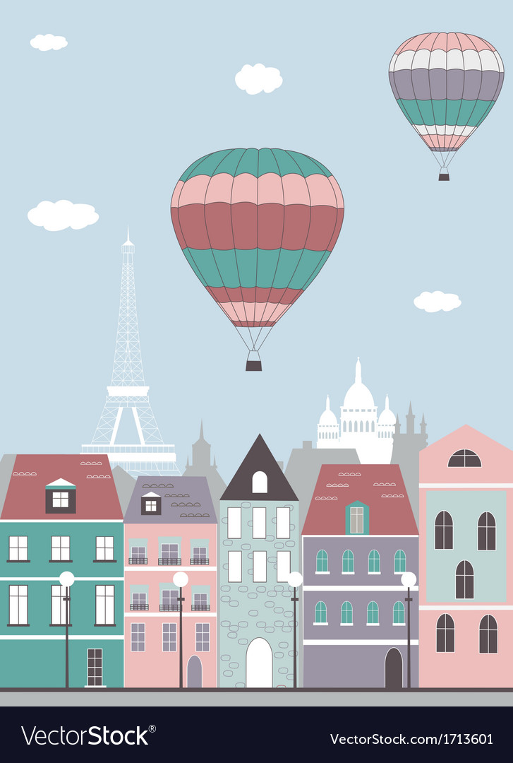 Hot air balloon over the paris vector | Price: 1 Credit (USD $1)