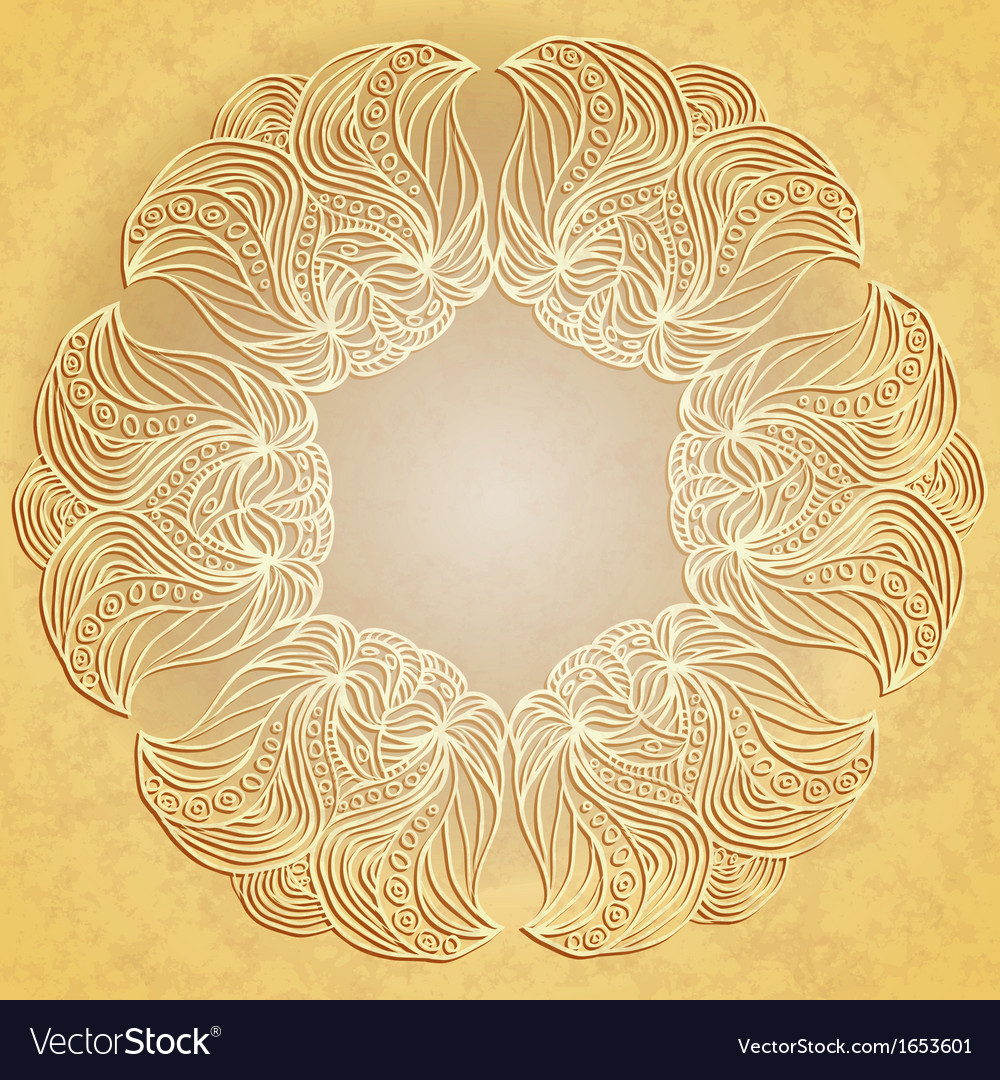 Paper lace on beige background vector | Price: 1 Credit (USD $1)