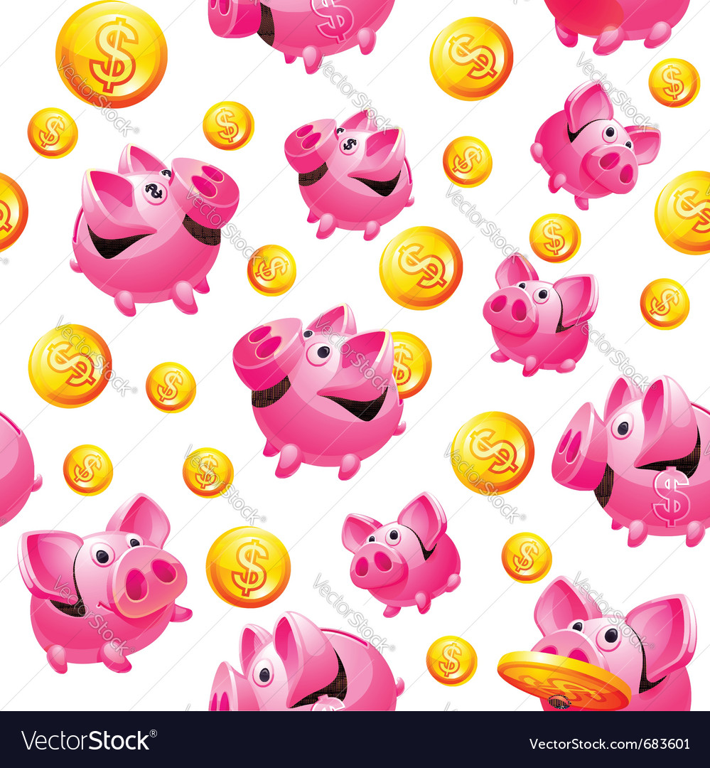Piggy bank and coins seamless vector | Price: 3 Credit (USD $3)