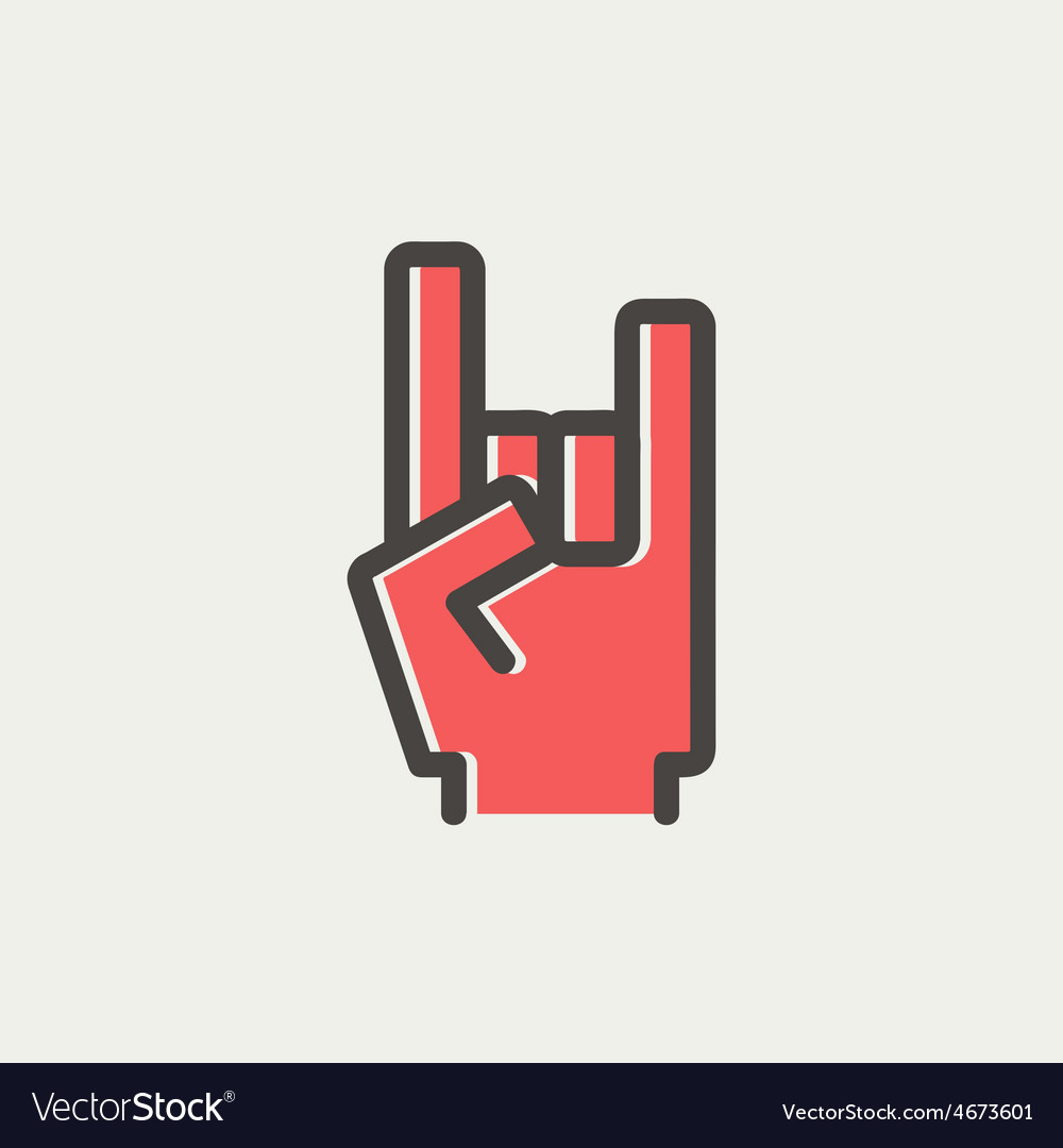 Rock hand thin line icon vector | Price: 1 Credit (USD $1)