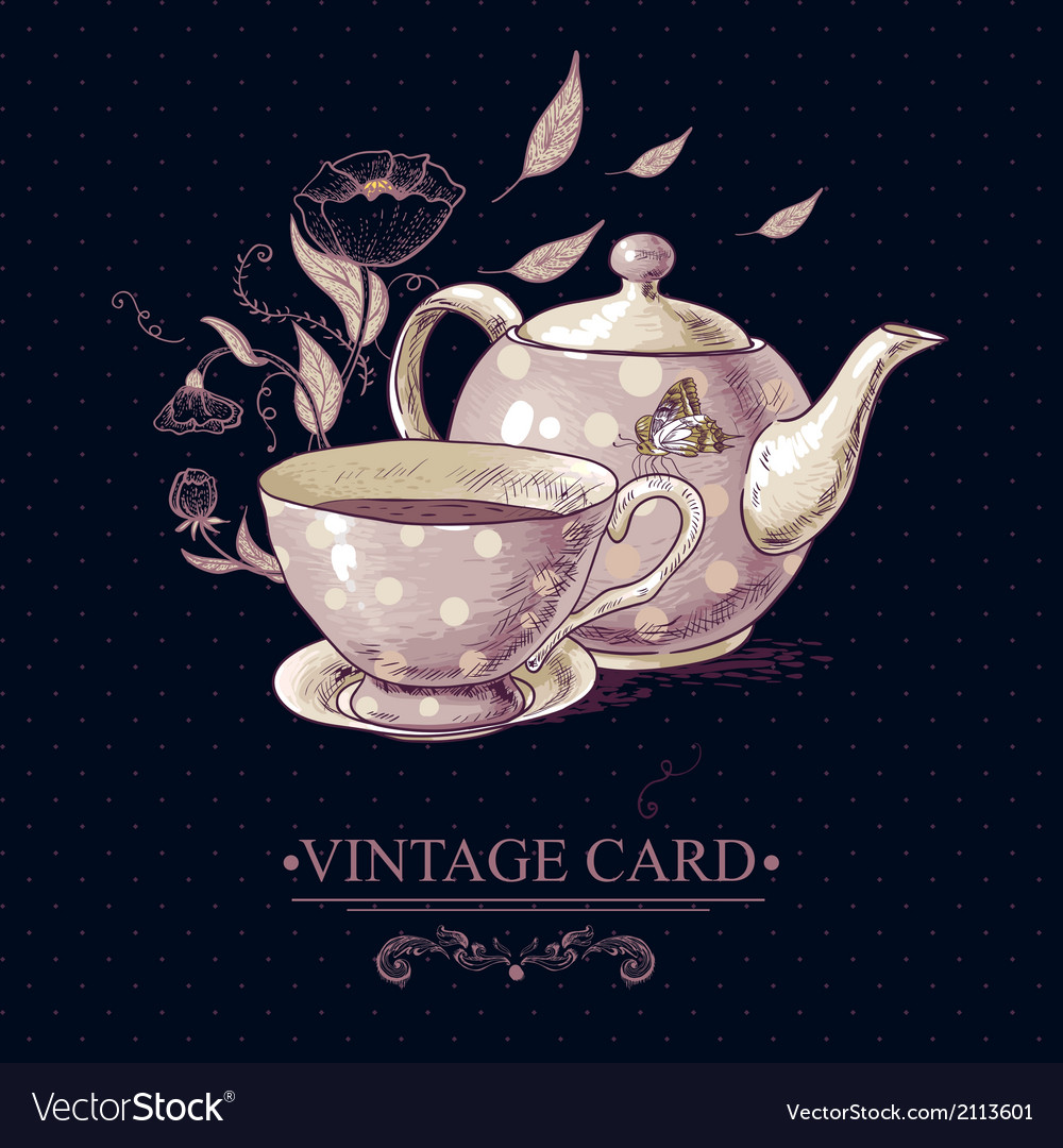 Vintage card with cup of tea or coffee and pot vector | Price: 1 Credit (USD $1)