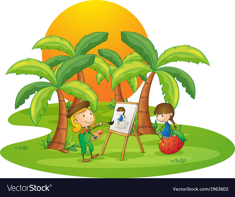A female artist painting a girl vector | Price: 3 Credit (USD $3)
