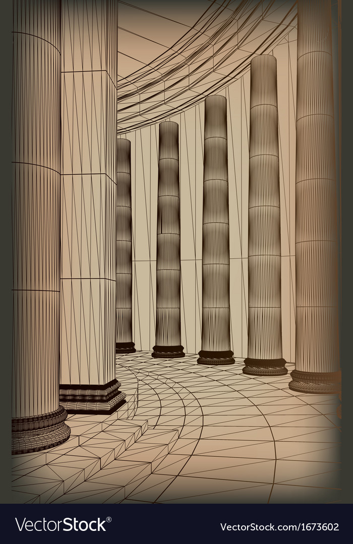Column array with a greek doric-style base vector | Price: 1 Credit (USD $1)