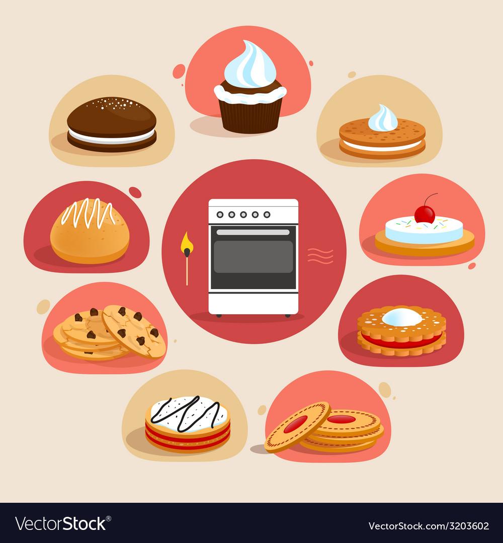 Cookies decorative set vector | Price: 1 Credit (USD $1)