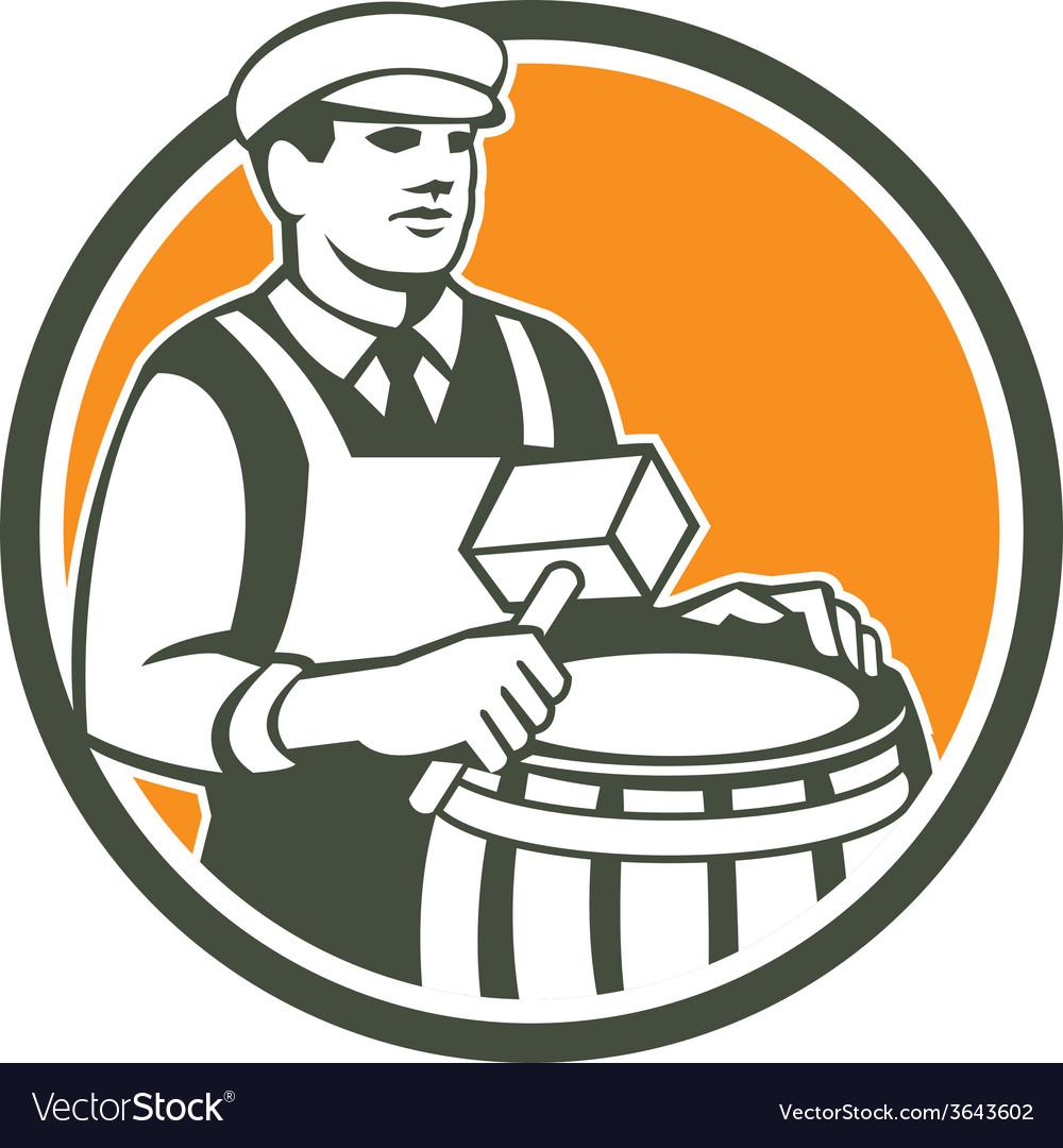 Cooper barrel maker drum retro circle vector | Price: 1 Credit (USD $1)