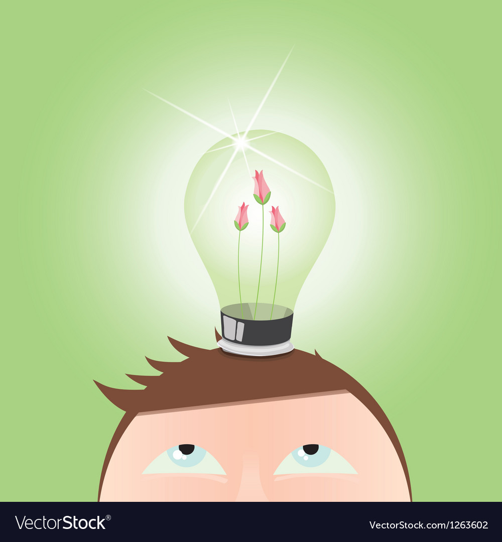 Ecology green light idea bulb vector | Price: 3 Credit (USD $3)
