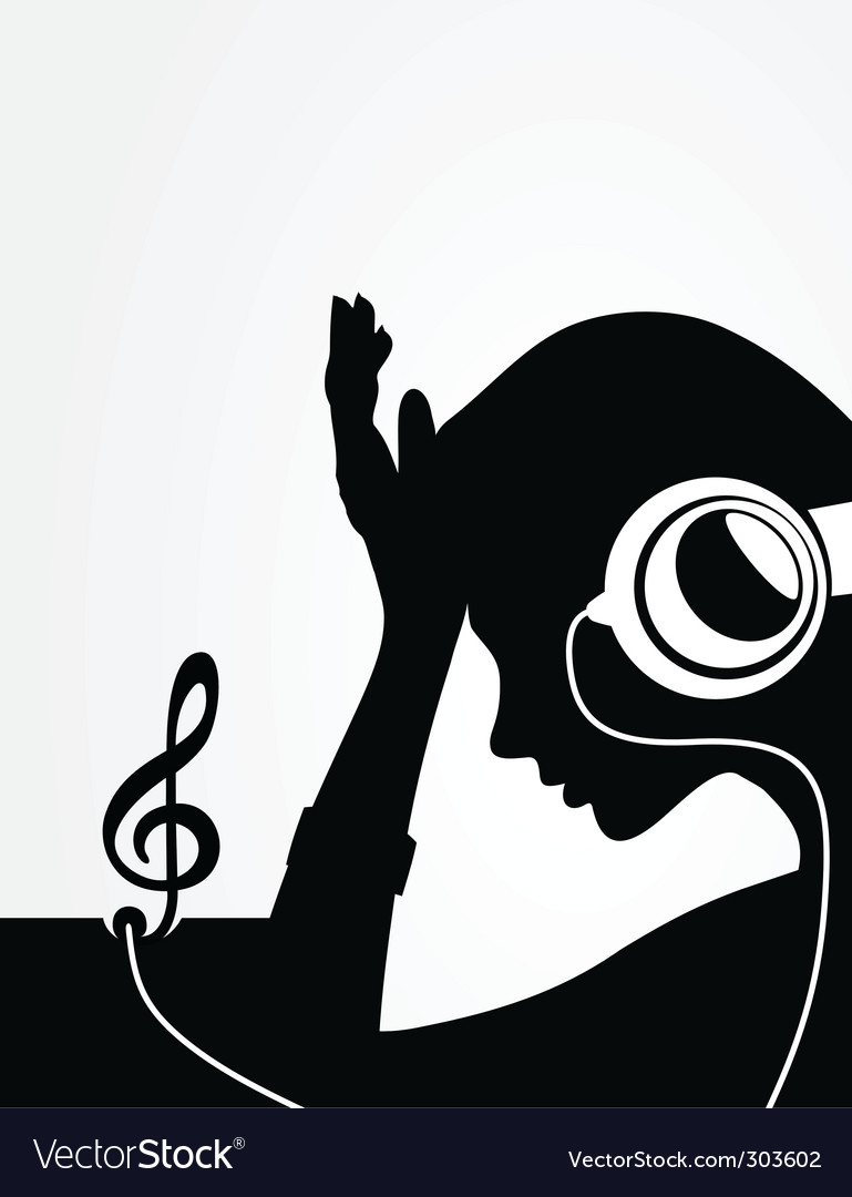 Girl in earphones vector | Price: 1 Credit (USD $1)