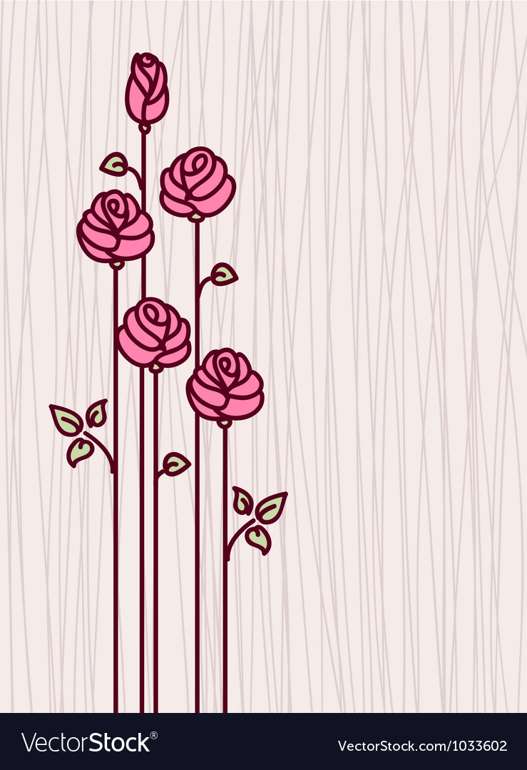 Greeting card with pink stylized roses vector   Price: 1 Credit (USD $1)