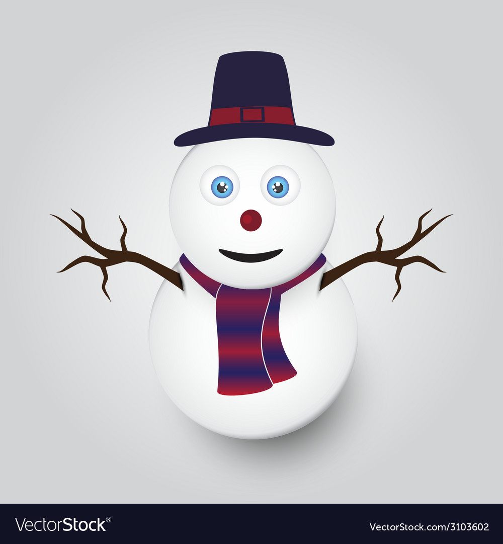 Isolated white winter happy snowman eps10 vector | Price: 1 Credit (USD $1)