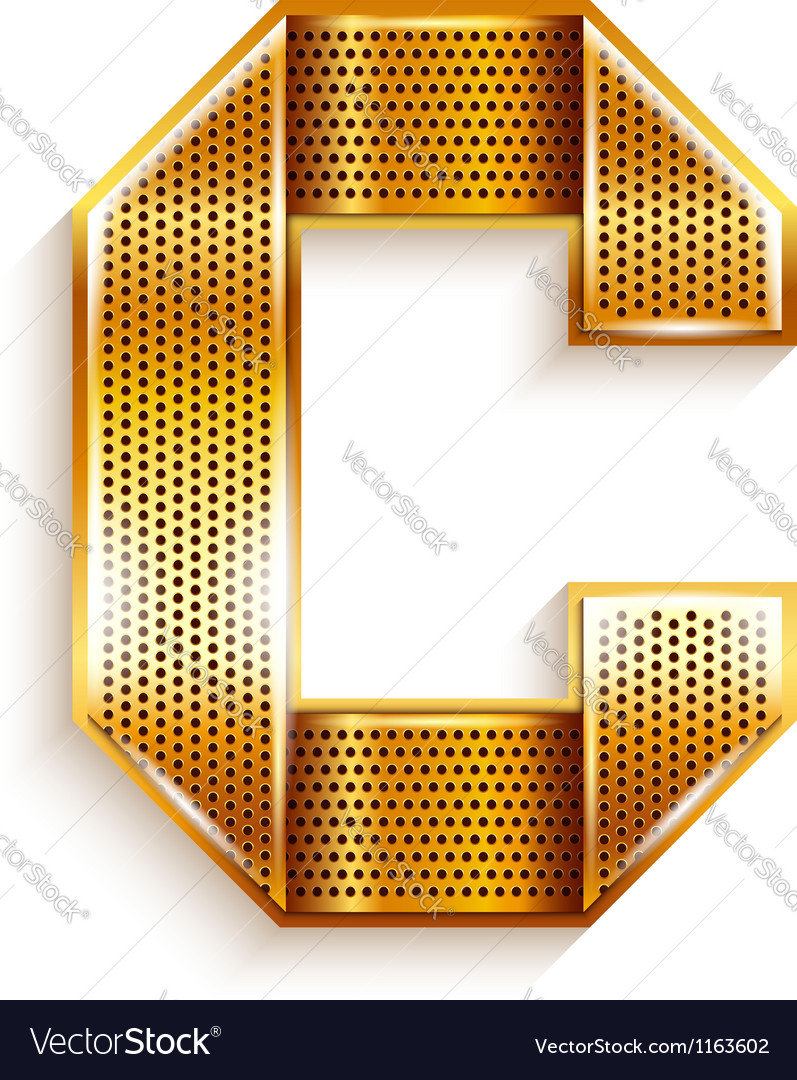 Letter metal gold ribbon - c vector | Price: 1 Credit (USD $1)