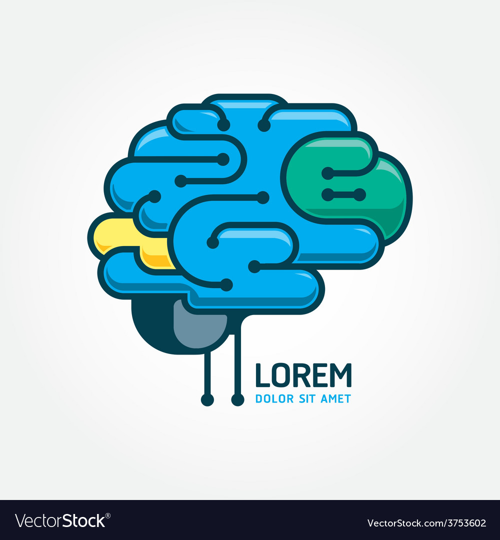 Logo brain template brain distortion concept vector | Price: 1 Credit (USD $1)