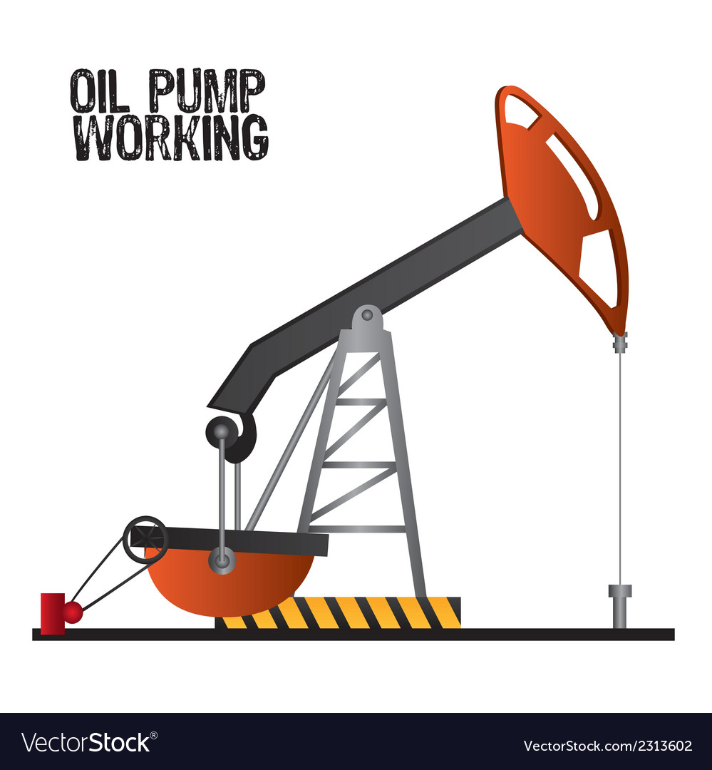 Oil pump working isolate on white background vector | Price: 1 Credit (USD $1)