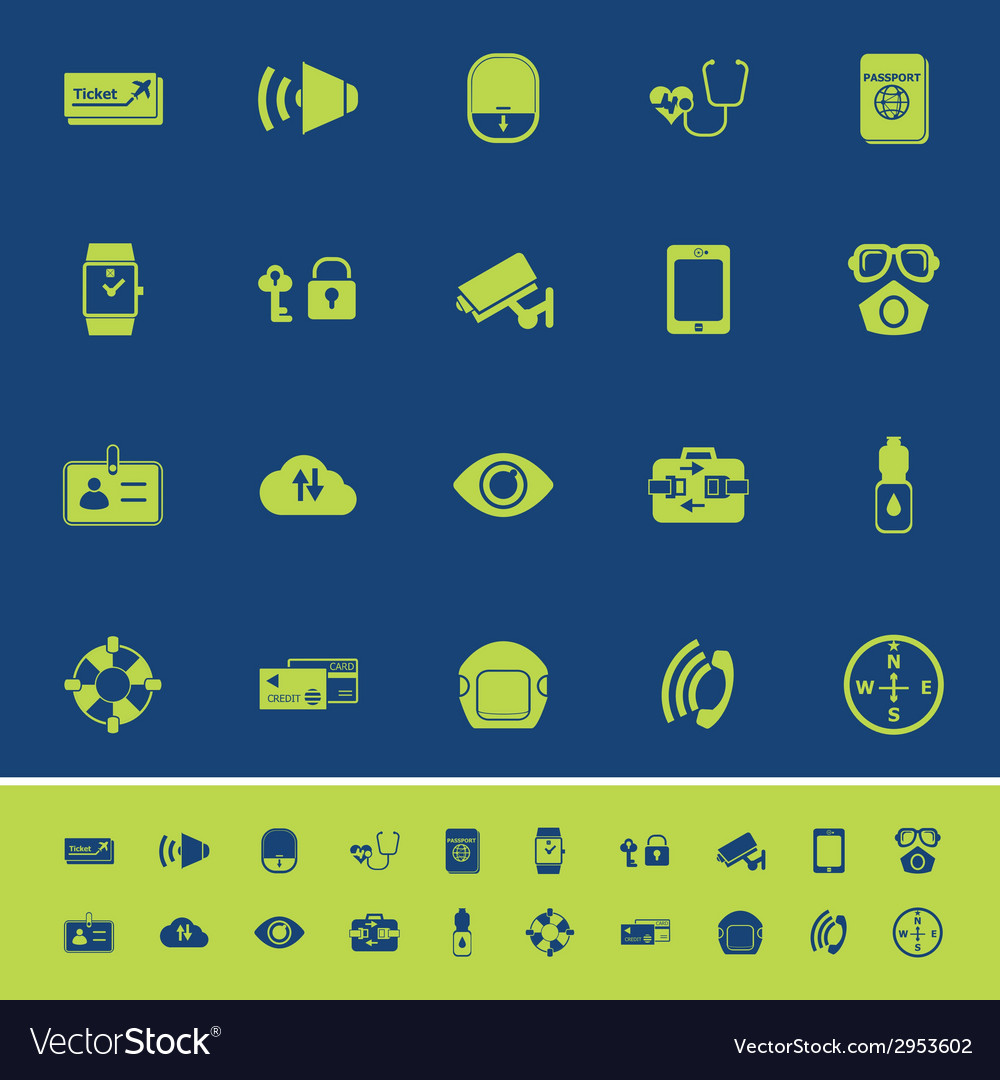 Passenger security color icons on blue background vector | Price: 1 Credit (USD $1)