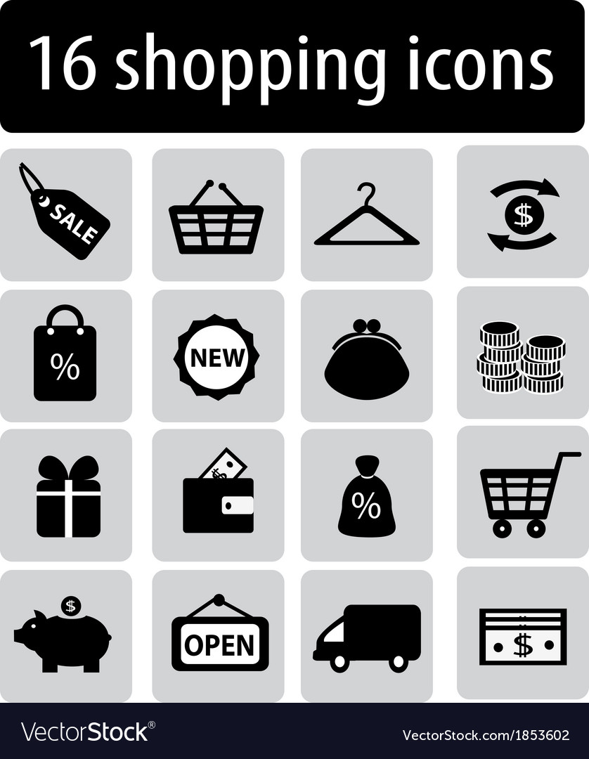 Set of black shopping icons vector | Price: 1 Credit (USD $1)