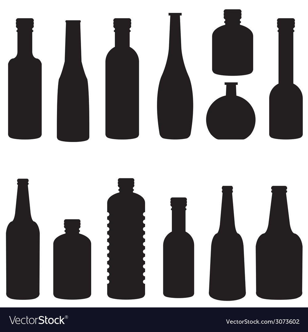 Silhouette of bottle set vector | Price: 1 Credit (USD $1)