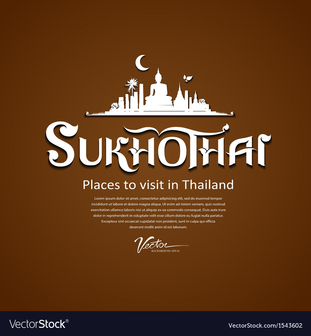 Sukhothai province message text design vector | Price: 1 Credit (USD $1)